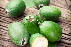 feijoa fruits with leaves