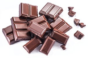 Pieces of chocolate bar isolated