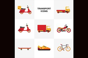 Transport vehicle icon set.