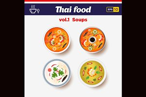 Thai food icon set. Hot spicy soups.