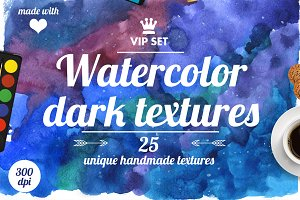 Dark and deep watercolor pattern set
