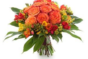 Orange roses and freesia bouquet
