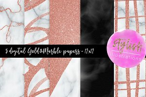 Rose Gold & Marble Digital Papers