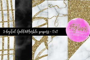 Gold & Marble Digital Papers