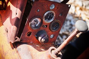 Old tractor rustic control panel