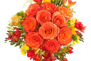 Orange roses bouquet from above