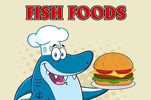 Chef Blue Shark Holding A Big Burger
