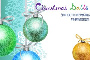 Christmas vector balls and banners