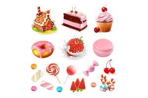 Confectionery and desserts.3d vector