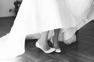 Closeup of bride's legs