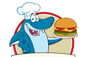 Blue Shark Holding A Big Burger