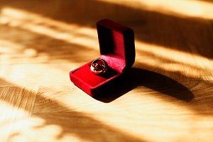 Wedding rings in red velvet box