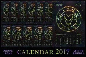 ZODIAC CALENDAR 2017 - green vector