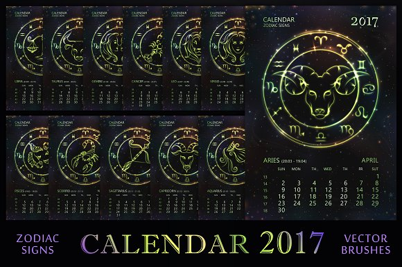 Calendar Design Zodiac : Zodiac calendar green vector illustrations