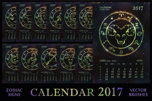 Calendar Design Zodiac : Zodiac calendar green vector illustrations