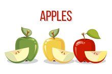 Three apples with slices