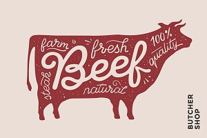 Lettering. Beef & red cow silhouette