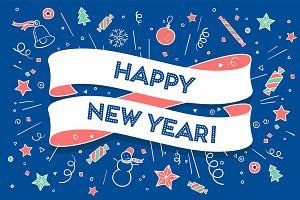 Happy New Year. Greeting card