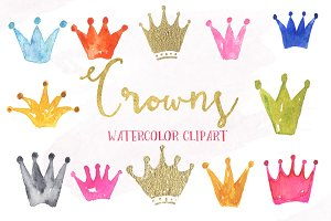 Crowns watercolor clipart