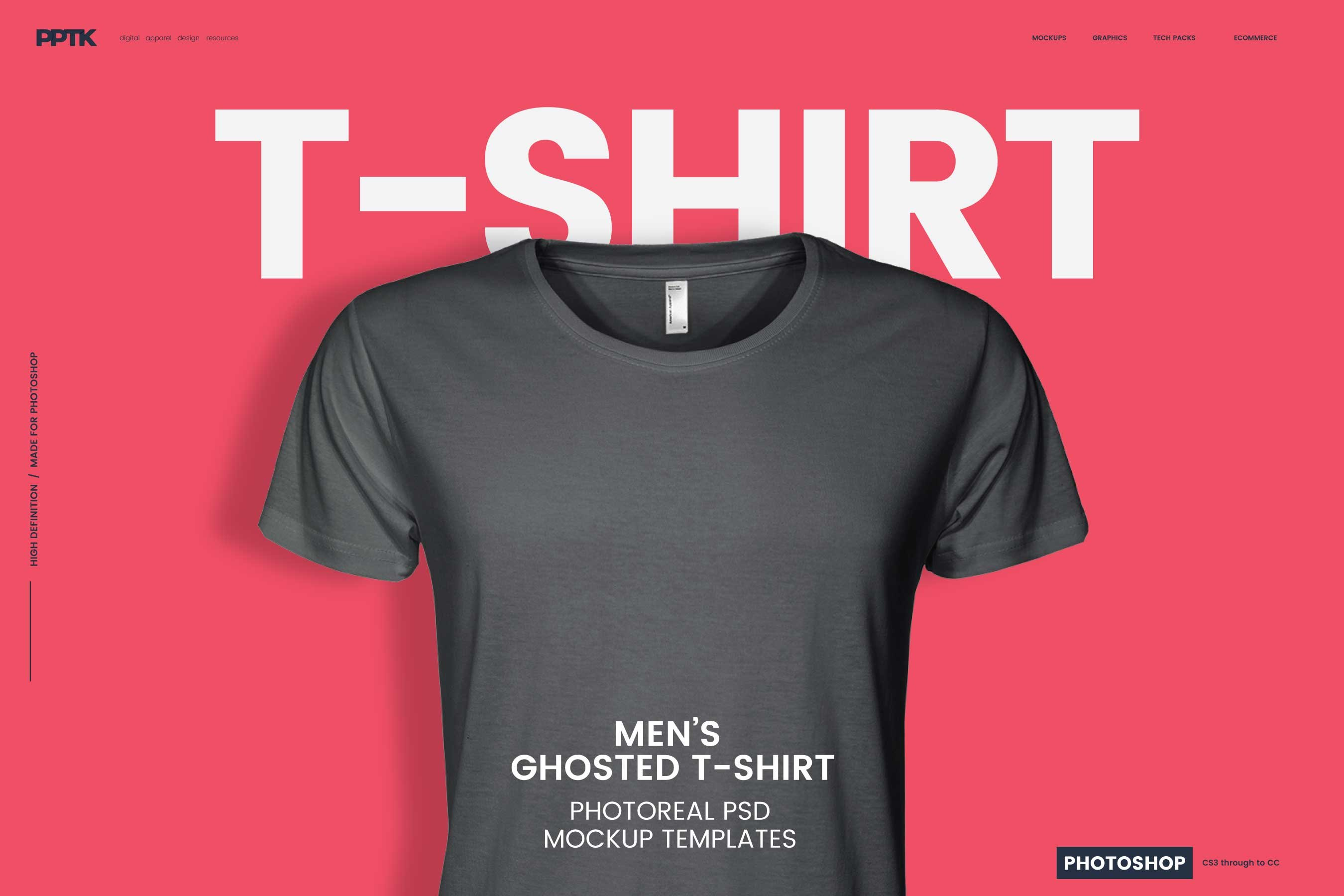 Men S Ghosted T Shirt Mockups Product Mockups Creative