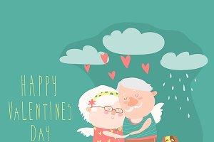 Couple of elderly angel huggins