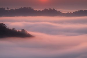 Sunrise view with sea of clouds