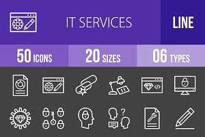 50 IT Services Line Inverted Icons