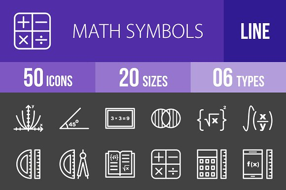 50 Math Symbols Line Inverted Icons