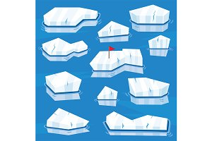Cartoon Icebergs Set