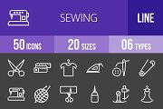 50 Sewing Line Inverted Icons