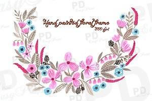 Hand Painted Floral Wreath Clip Art