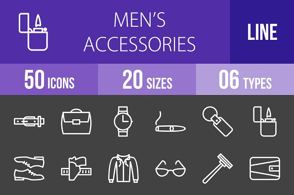 50 Men's Items Line Inverted Icons in Icons