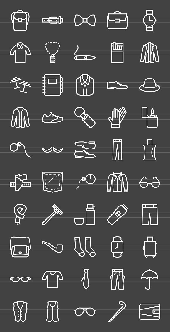 50 Men's Items Line Inverted Icons in Graphics - product preview 1