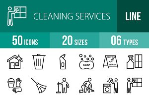 50 Cleaning Line Icons