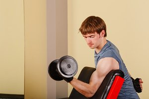 Man doing exercise for biceps