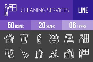 50 Cleaning Line Inverted Icons