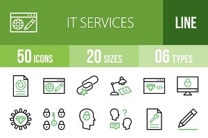 50 IT Services Green & Black Icons