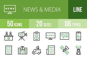 50 News & Media Green & Black Icons