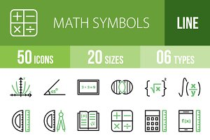 50 Math Symbols Green & Black Icons