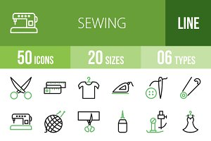 50 Sewing Line Green & Black Icons