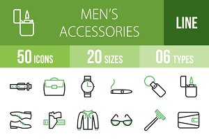 50 Men's Items Green & Black Icons