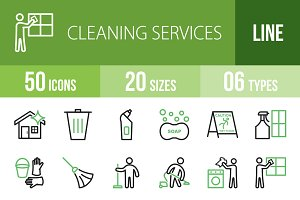 50 Cleaning Line Green & Black Icons