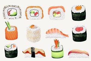 Japanese seafood sushi rolls + bonus