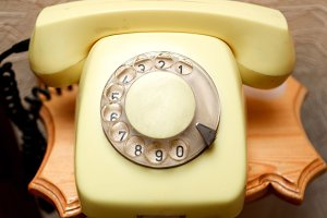 Old yellow retro phone