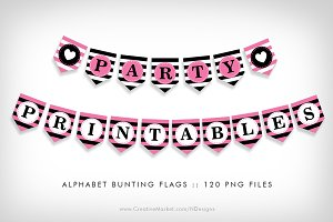 Pink Bunting Flags Party Printables