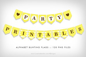 Yellow Bunting Flag Party Printables