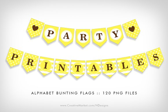 yellow bunting flag party printables flyer templates creative market