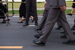 Police walking in row