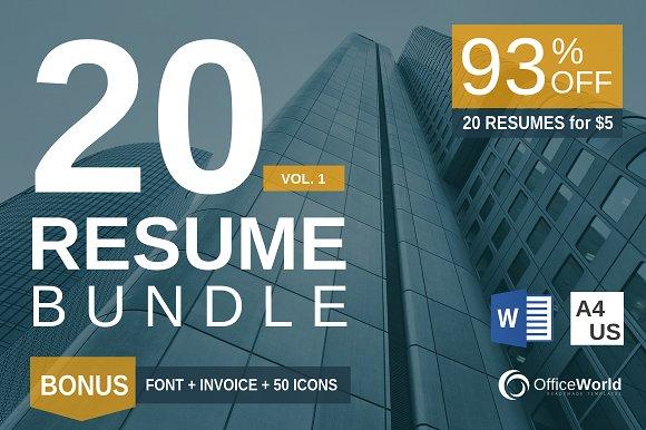 20 Resumes Bundles + BONUS = 93% 0FF ~ Resume Templates ~ Creative ...
