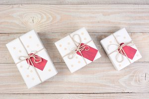 White Christmas Presents Red Tags